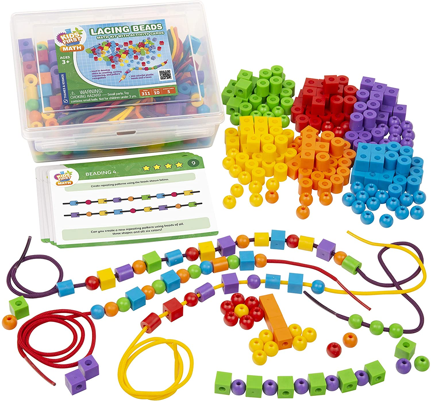 Kids First Math: Lacing Beads Math Kit w/ Activity Cards | Develop Skills in Counting, Sorting, Sequencing, Pattern Recognition | Visual Hands-on Math for At-Home or Classroom Learning, Ages 3+