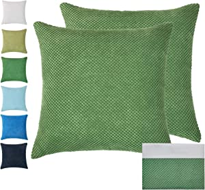 Melingo JUST 2 Covers Soft Corduroy Corn Design Throw Pillows, Decorative Pillow Cushion Covers for Home Decor, Sofa, Chair, Living Room, Couch, Bedroom and Bed18 x 18 Inch 45 x 45 cm (Green)