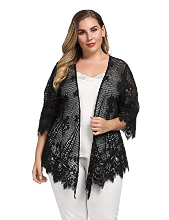 c2799584e6c Chicwe Women s Plus Size Scalloped Lace Kimono Lace Cover Up Top Black 1X