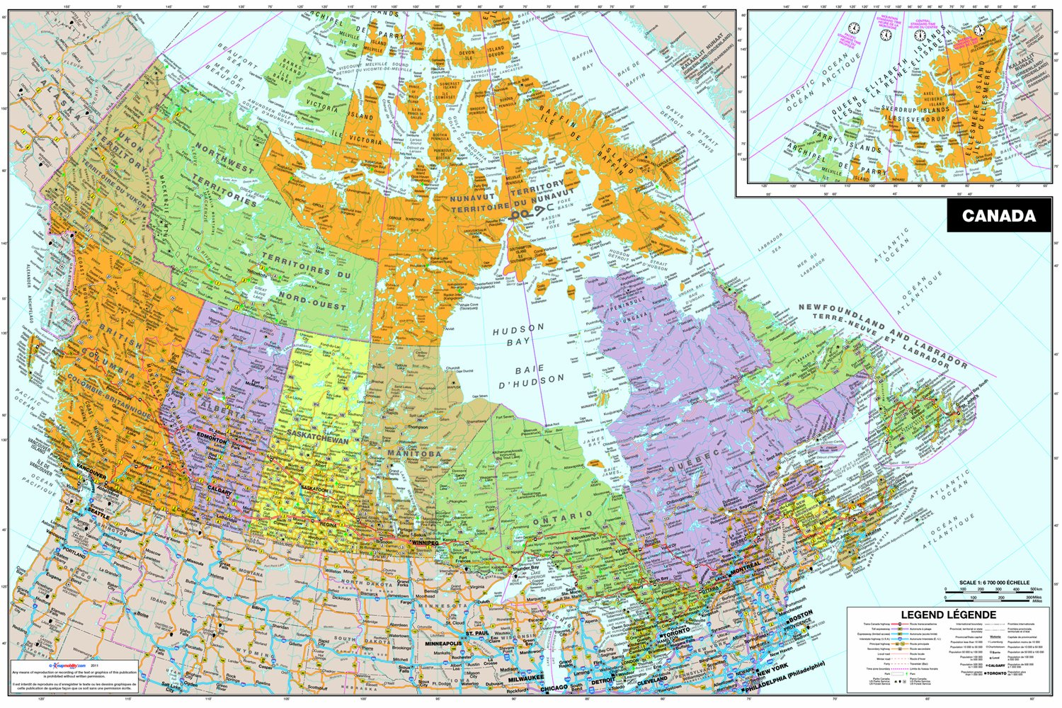 Wall Pops WPE0255 Canada Peel and Stick Dry-Erase Map - Decorative ...