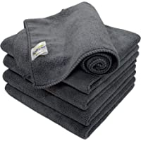 SOFTSPUN Microfiber Cloth - 5 pcs - 40x40 cms - 340 GSM Grey - Thick Lint & Streak-Free Multipurpose Cloths - Automotive Microfibre Towels for Car Bike Cleaning Polishing Washing & Detailing