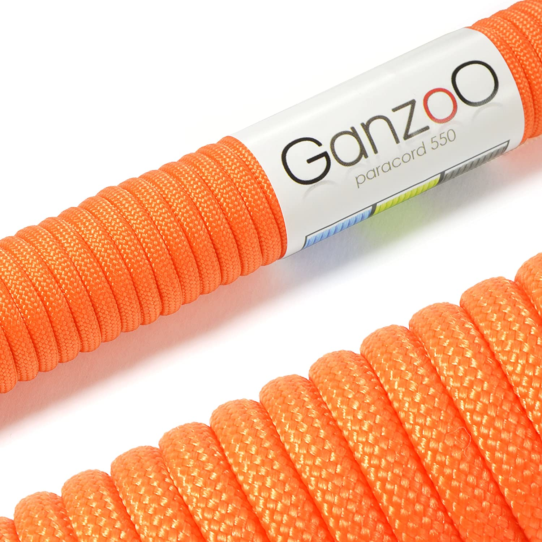 Ganzoo - Cavo per paracadute Paracord, in nylon ultra resistente, max 250 KG, 31 m, cavo non adatto a scalate arancione #5011or