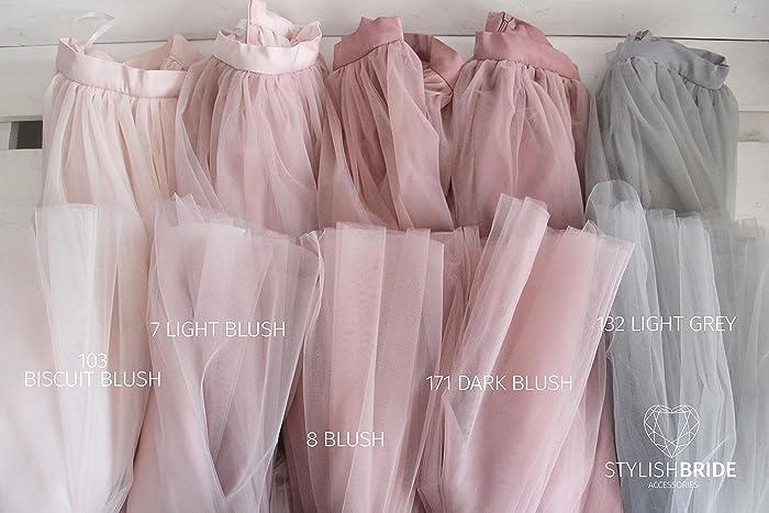 35d76c1f835f Amazon.com: Blush Bridesmaids Floor Long Tulle Skirts, Dark Blush Long  Tulle Skirt for Maid of Honor, Blush Prom Tulle Dresses: Handmade