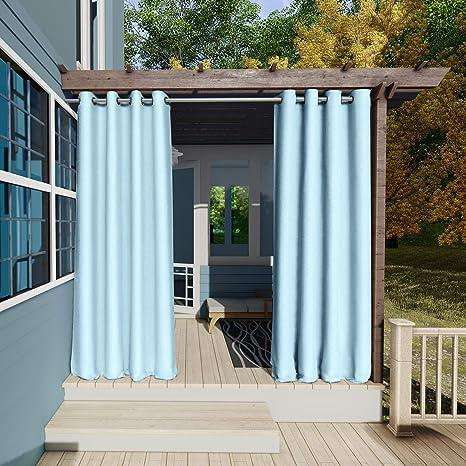 132x215cm Azul Cielo Cortinas para Exteriores con Ojales,Resistentes al Viento, Resistentes al Agua, Resistentes a la harina, para jardín, balcón, ...