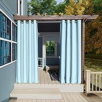132x215cm Azul Cielo Cortinas para Exteriores con Ojales,Resistentes al Viento, Resistentes al Agua, Resistentes a la…