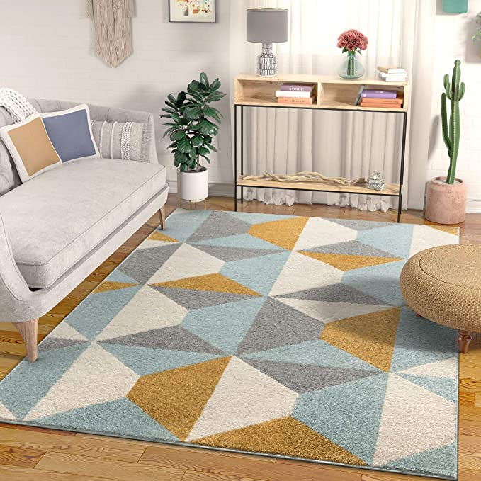 Yara Scandanavian Abstract Geometric Blue Mustard Yellow Area Rug 220x160 Cm 5 3 X 7 3 Ft Amazon Co Uk Kitchen Home