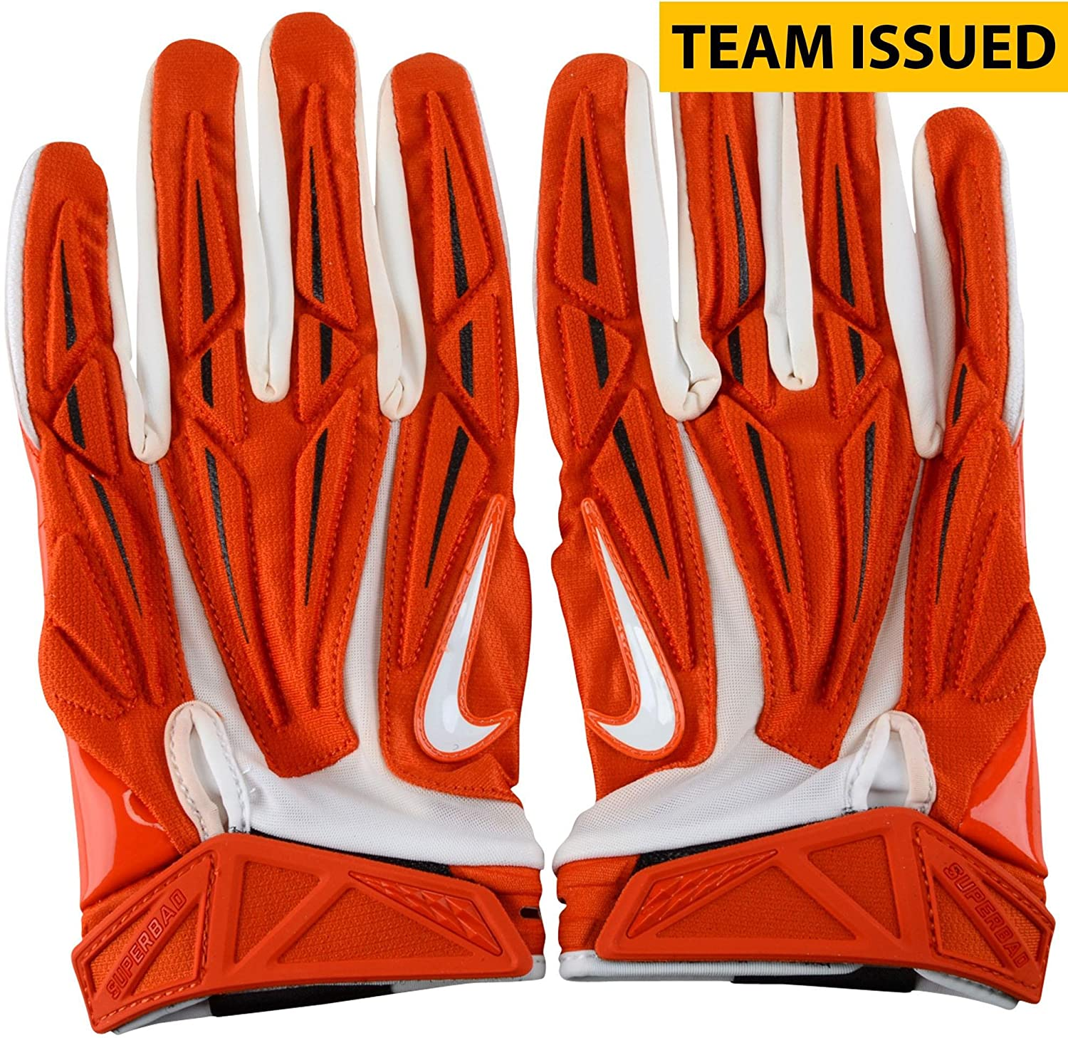 Clemson Tigers Team-Issued Orange and White Superbad Nike Football Gloves - Size 4XL - Fanatics Authentic Certified