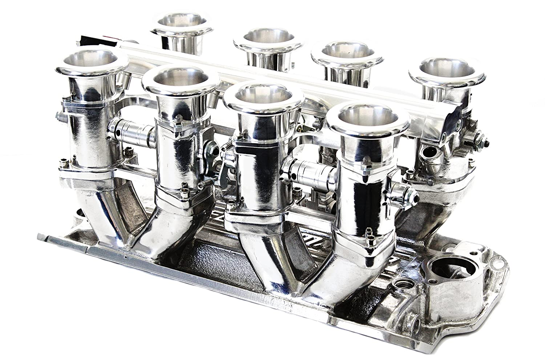 SBC Polished Aluminum EFI Fuel Injection Hilborn Style Down