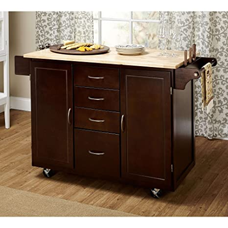 Contemporary Country Style Mobile Kitchen Island Rolling Cart Wooden Frame  4-Storage Drawers and 2-Cabinets with Adjustable Shelf | Towel Rack, ...
