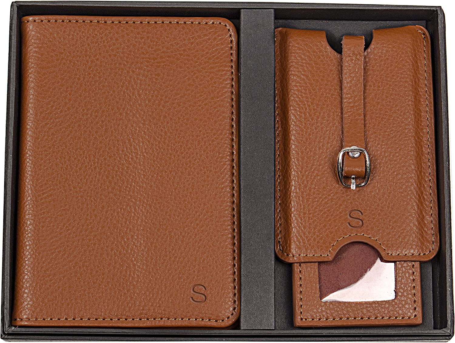 Brown Cathys Concepts Personalized Leather Passport Holder /& Luggage Tag Set Letter A