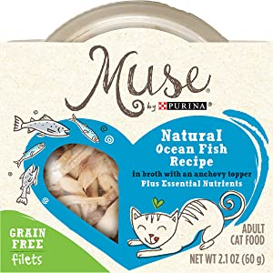 Muse by Purina Natural, Grain Free Wet Cat Food, Filets Ocean Fish Recipe - (10) 2.1 oz. Tubs