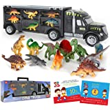 Dinosaur Truck Carrier – 12 Toy Dinosaurs Playset with a Dinosaur Car World – Dinosaur Toys Set for Toddler with More…