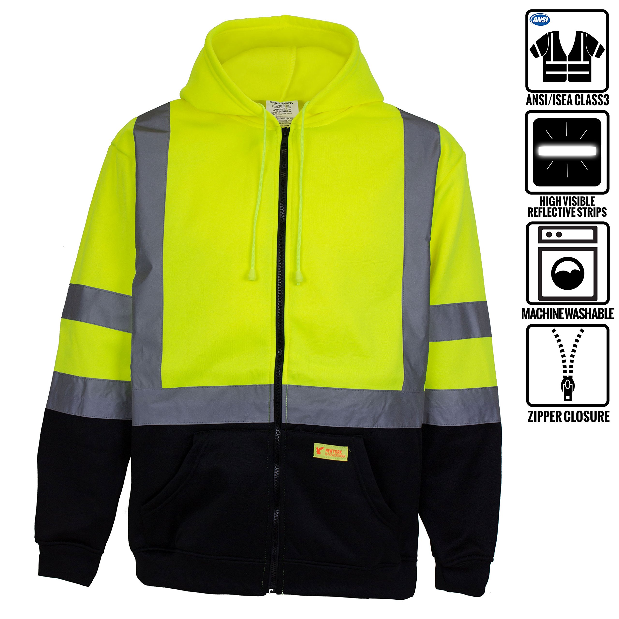 New York Hi-Viz Workwear H9012 Men's ANSI Class 3 High Visibility Class 3 Sweatshirt, Full Zip Hooded, Lightweight, Black Bottom (X-Large)