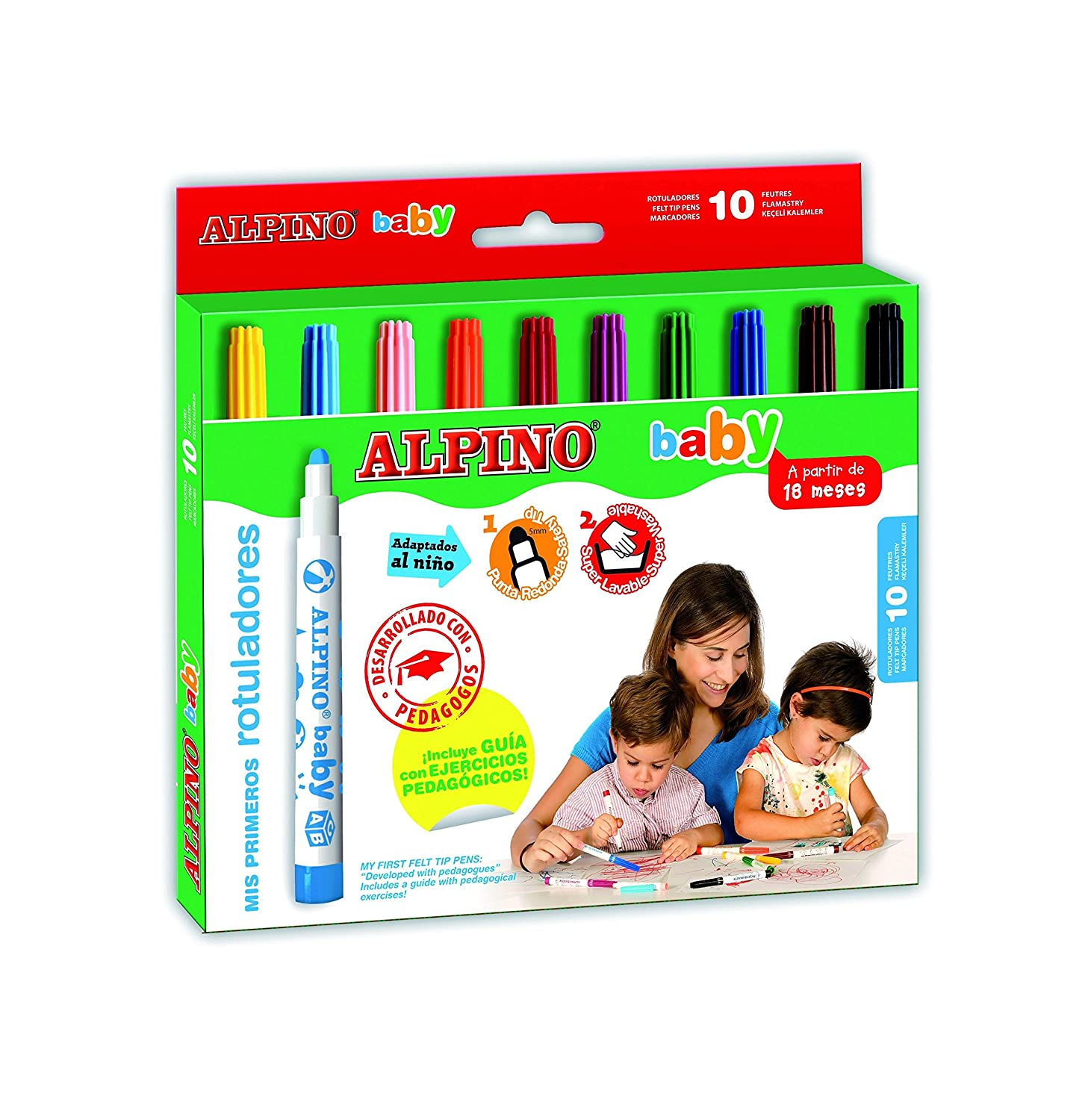 Amazon.com : ESTUCHE 10 ROTULADORES ALPINO BABY : Office ...
