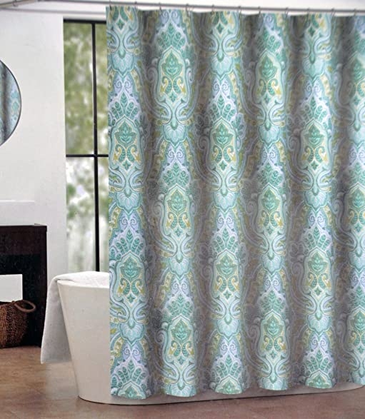 Tahari IZMIR Fabric Shower Curtain Blue Green Yellow Medallion Pattern On White