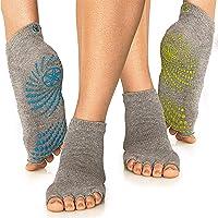 Gaiam Grippy Yoga Socks for Women & Men – Toeless Non Slip Sticky Grip Accessories for Yoga, Barre, Pilates, Dance…