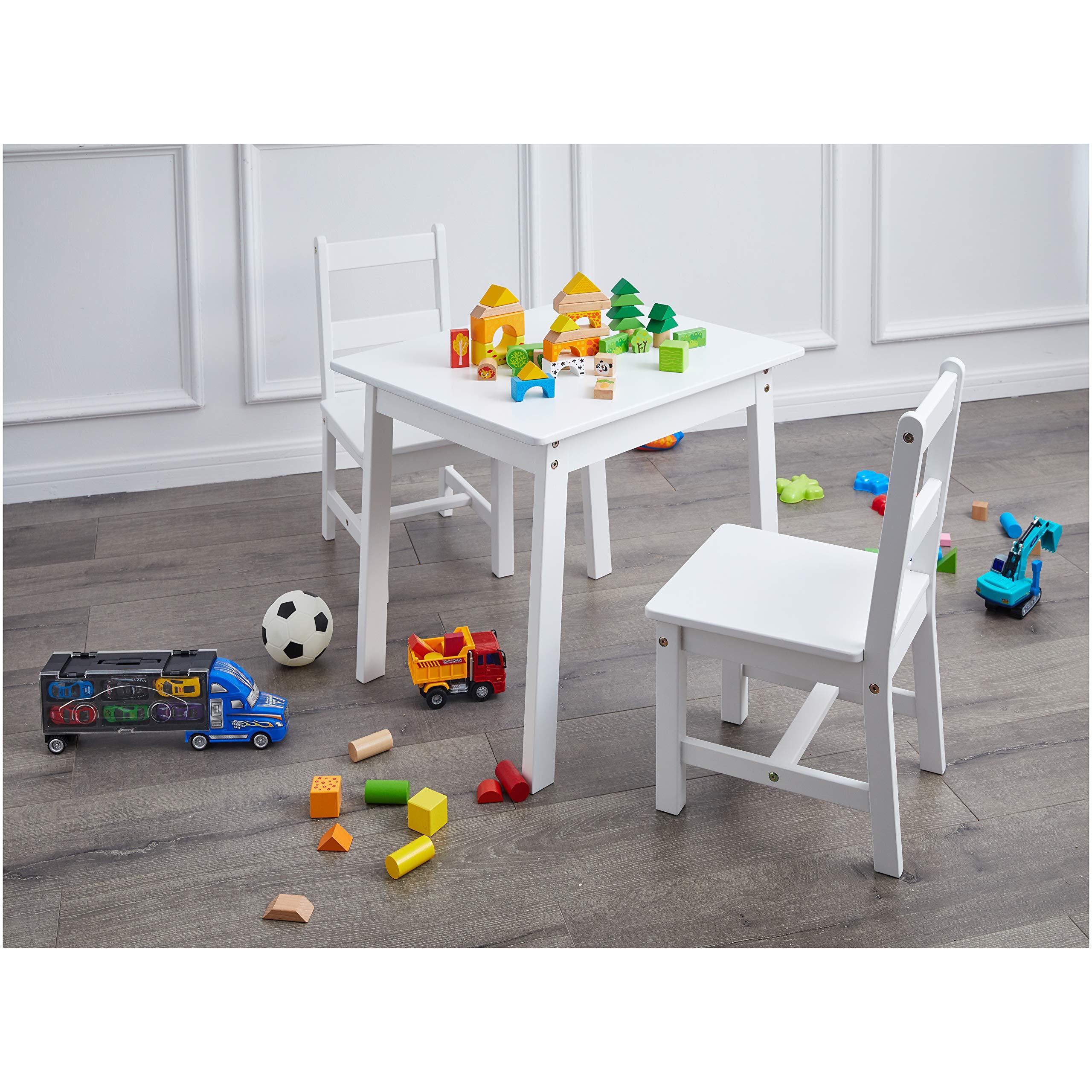 AmazonBasics Kids Solid Wood Table and 2 Chair Set, White by AmazonBasics (Image #2)