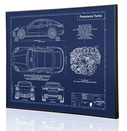 Porsche 970 Panamera Turbo 2017 Blueprint Artwork-Laser Marked & Personalized-The Perfect Porsche