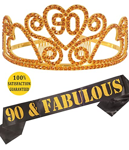 Gold 90th Birthday Tiara And Sash HAPPY Party Supplies 90 FABULOUS Black