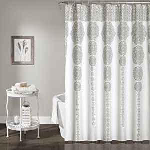 "Lush Decor, Gray Stripe Medallion Shower Curtain-Fabric Mandala Bohemian Damask Print Design, x 72"", Blue, 72"