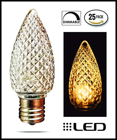 c9 led bulbs box of 25 warm white faceted replacement christmas lights indoor or