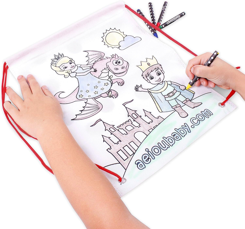 Regalo per bambini per le feste e i compleanni 30 Bustine singole con 5 Colori a Cera e un Palloncino 30 Borsette da Colorare