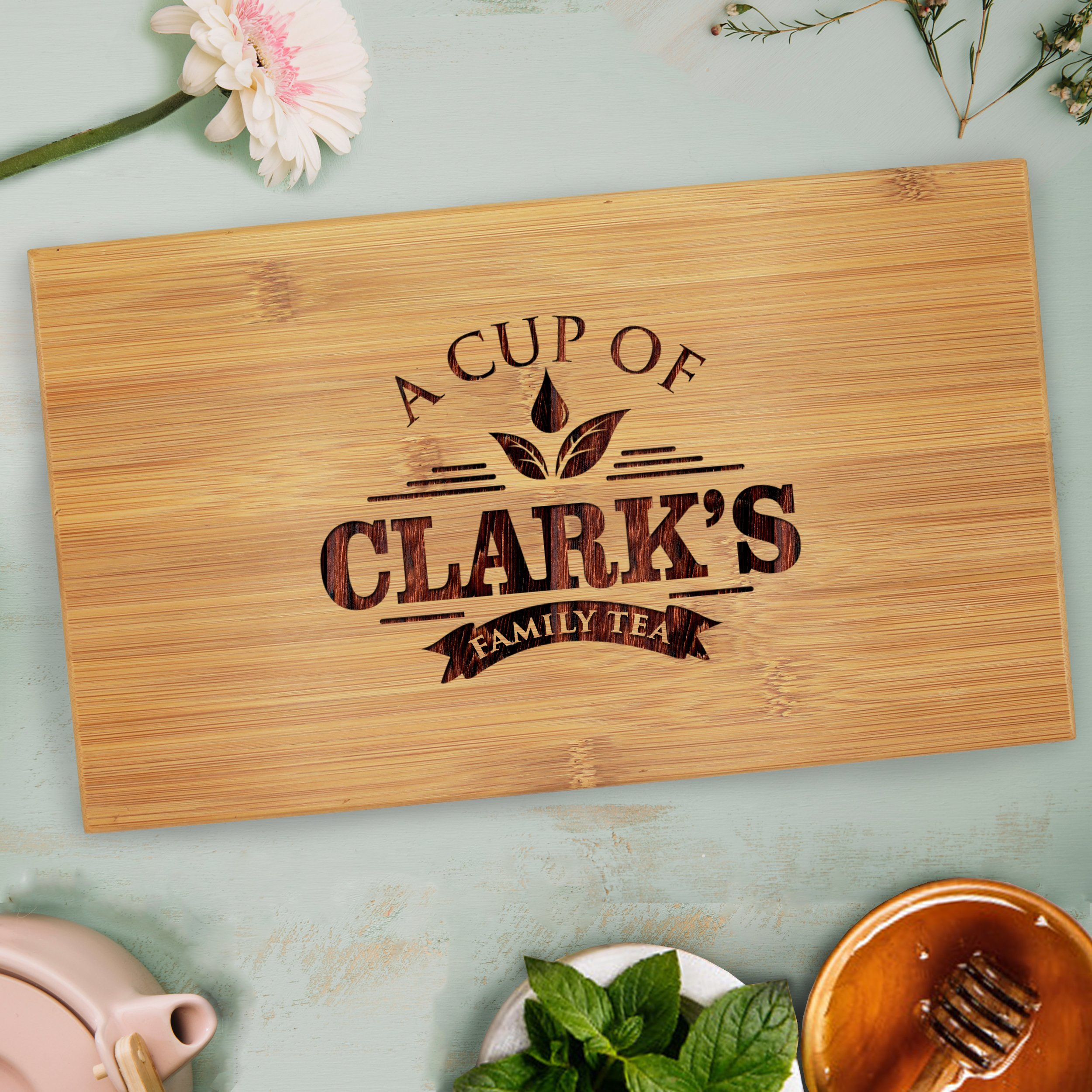Custom Personalized Wood Tea Box Caddy Organizer - Engraved Bamboo Tea Storage Holder - Monogrammed for Free by The Wedding Party Store (Image #5)