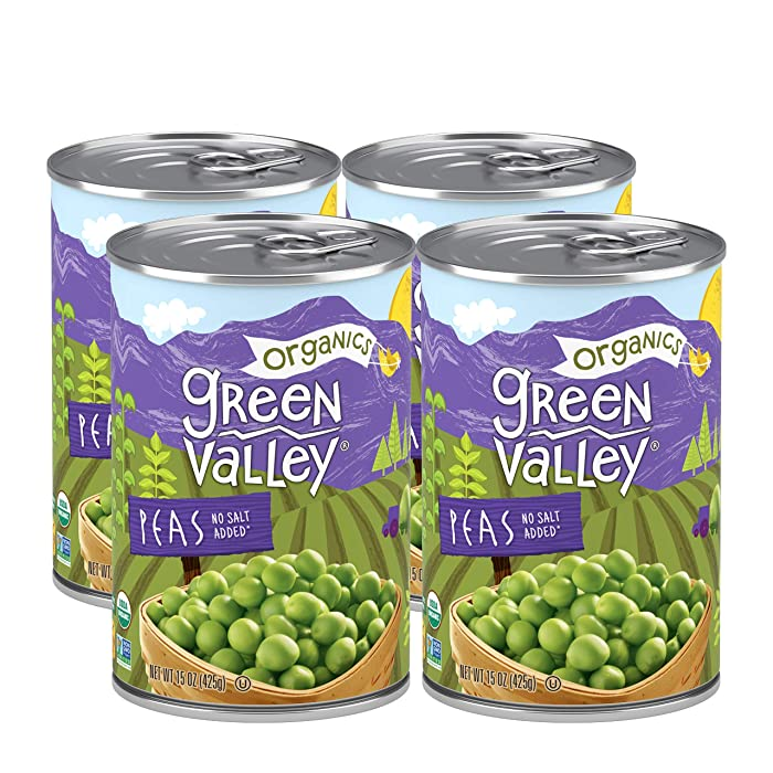 Green Valley Organics Peas | Certified Organic | Non-GMO Project Verified | Deliciously Succulent | 15 ounce can (Pack of 4)