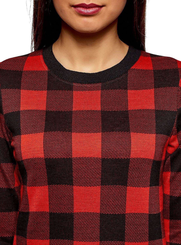 oodji Ultra Womens Straight-Fit Checkered Sweatshirt