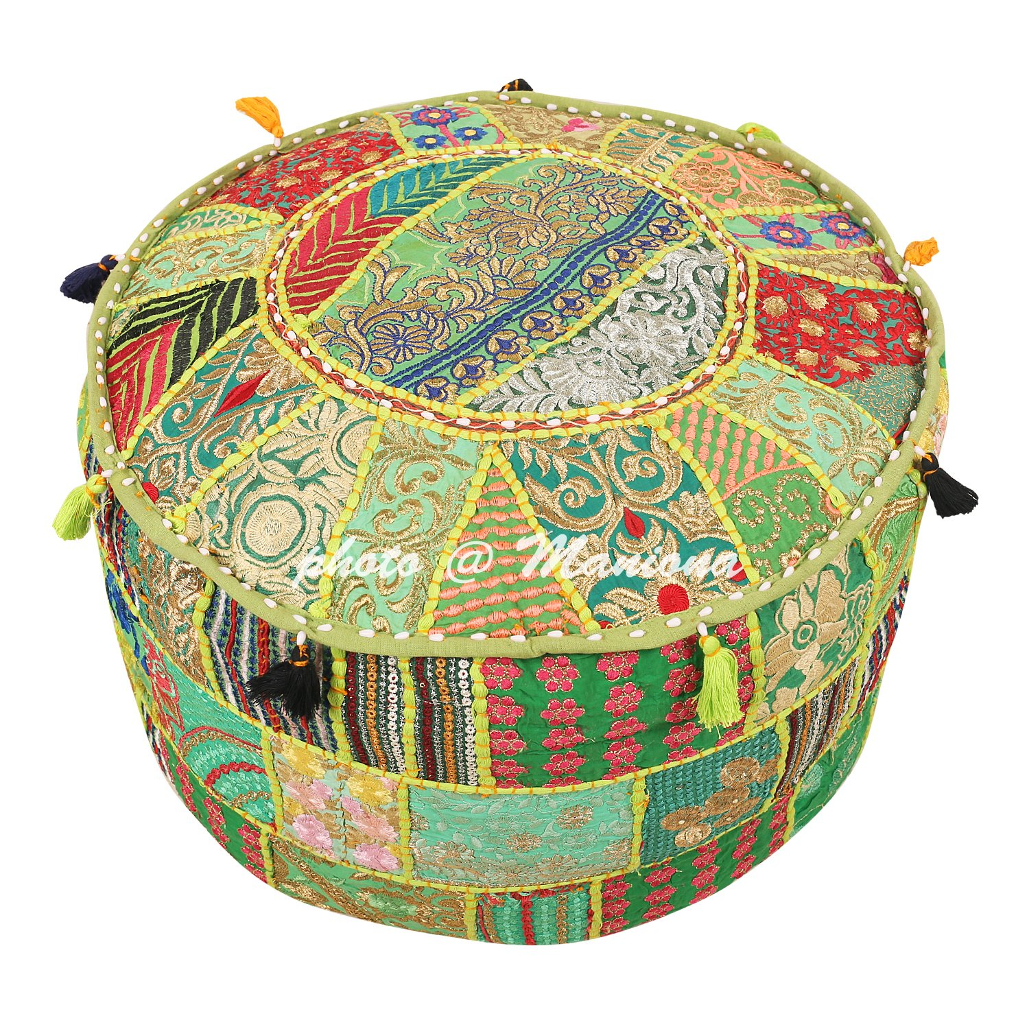 Maniona 22'' Green Indian Patchwork Pouf Cover Indian Living Room Pouf Decorative Ottoman Embroidered Designer Ottoman Home Living Footstool Chair Cover Bohemian Ottoman Pouf Decor by Maniona Crafts