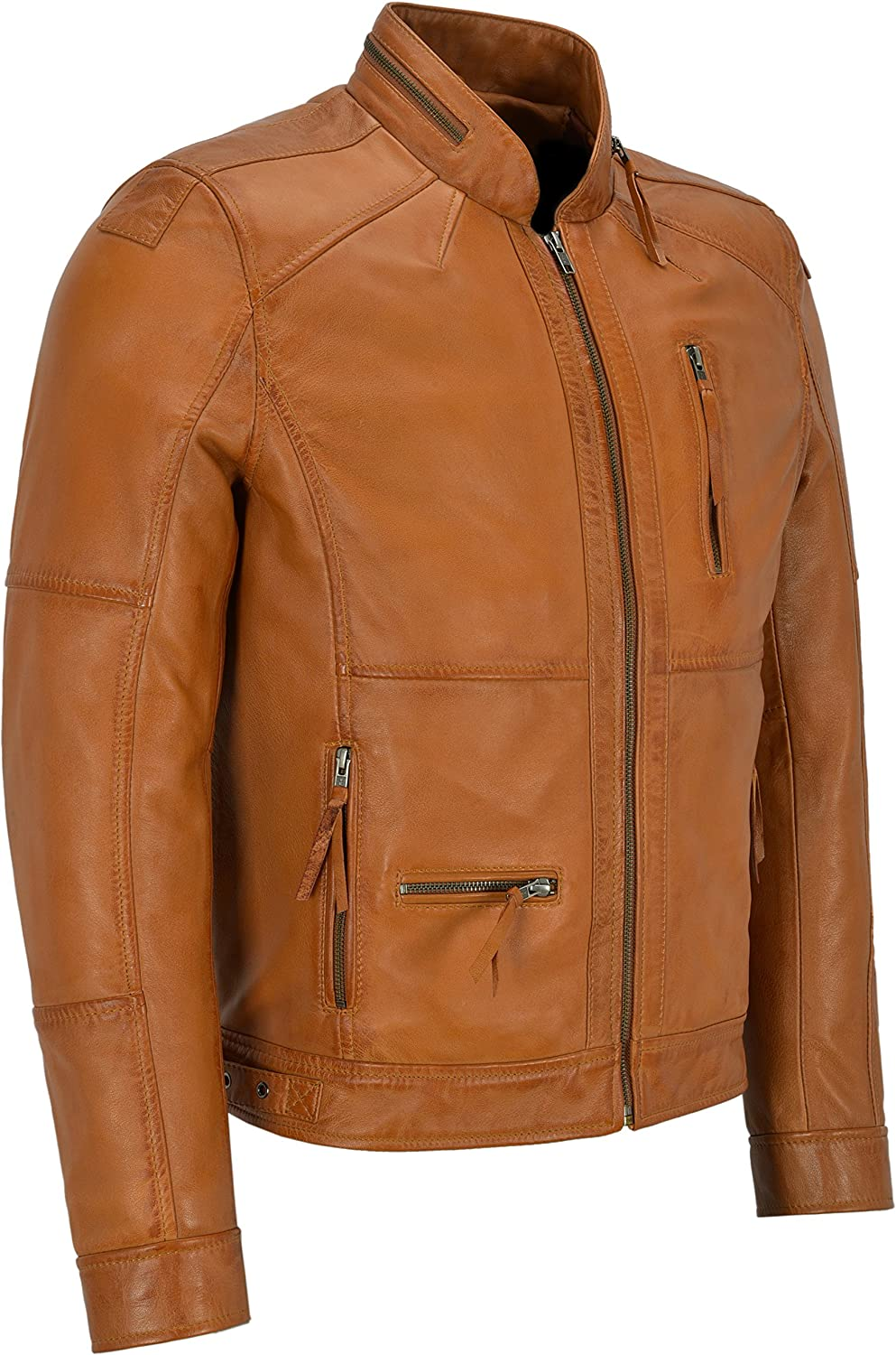 Mens Classic Style Tan Zipcollar Designer Wax Casual Soft Leather Jacket 9056