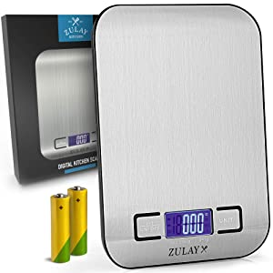 Zulay (Batteries Included) Digital Food Scale - 304 Stainless Steel Digital Kitchen Scale - Precision Food Scales Digital Weight Grams and Oz, LB, KG, ML - Perfect for Baking, Packaging, Mail