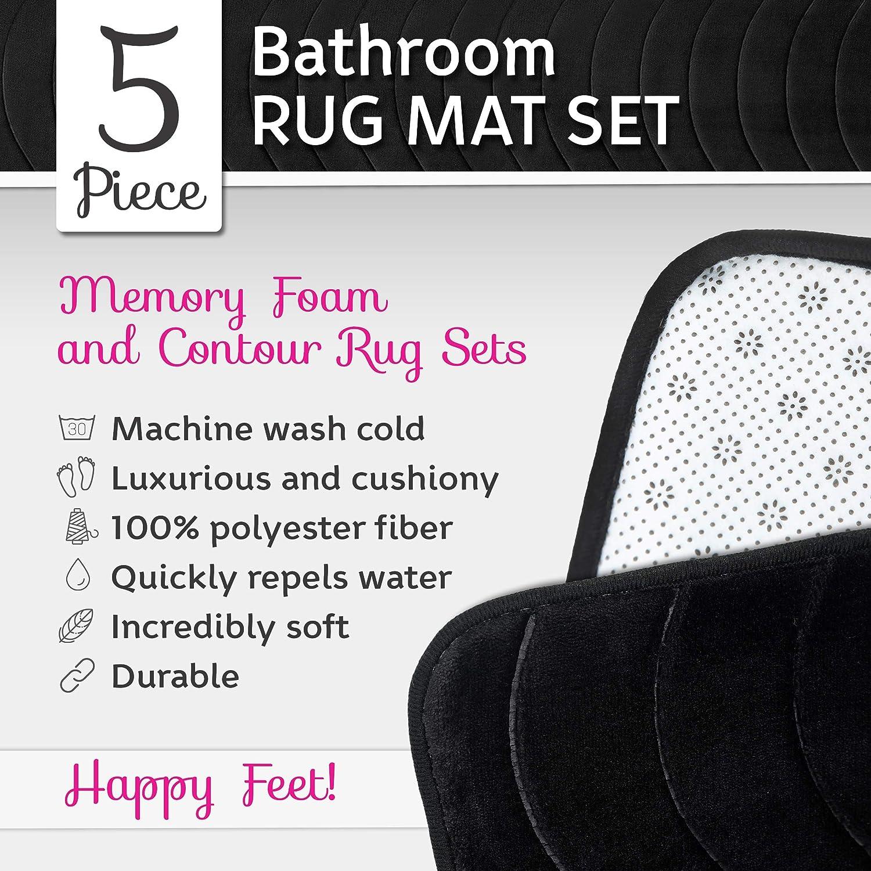 Elvoki 5 Piece Bathroom Rugs Set - Soft Non Slip Memory Foam Large Bathroom Rug Mats - Perfect Combination of Luxury and Comfort - Black/Sea Design