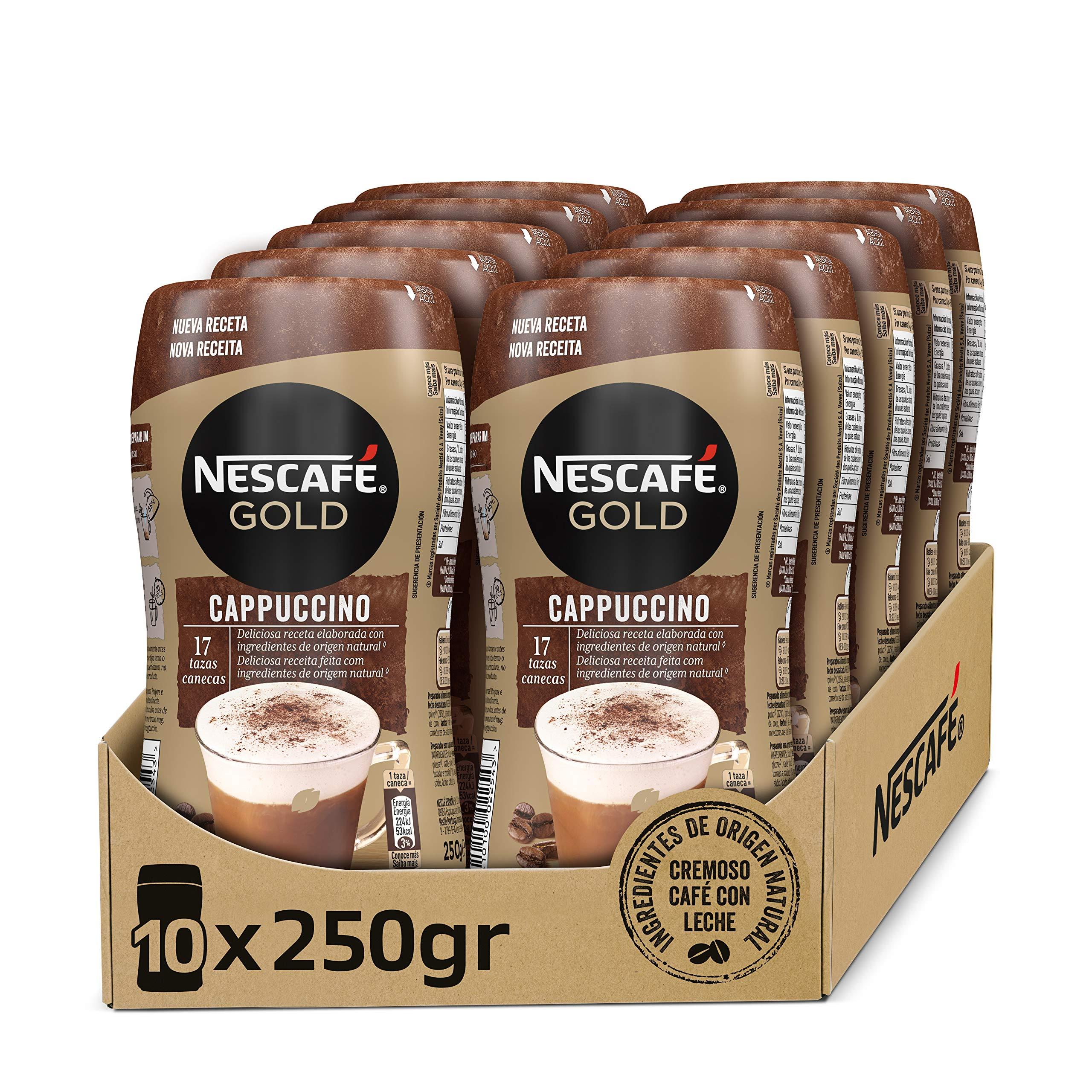 NESCAFÉ GOLD CAPPUCCINO NATURAL, cremoso café soluble con leche desnatada, Pack de 10 botes de 250 g