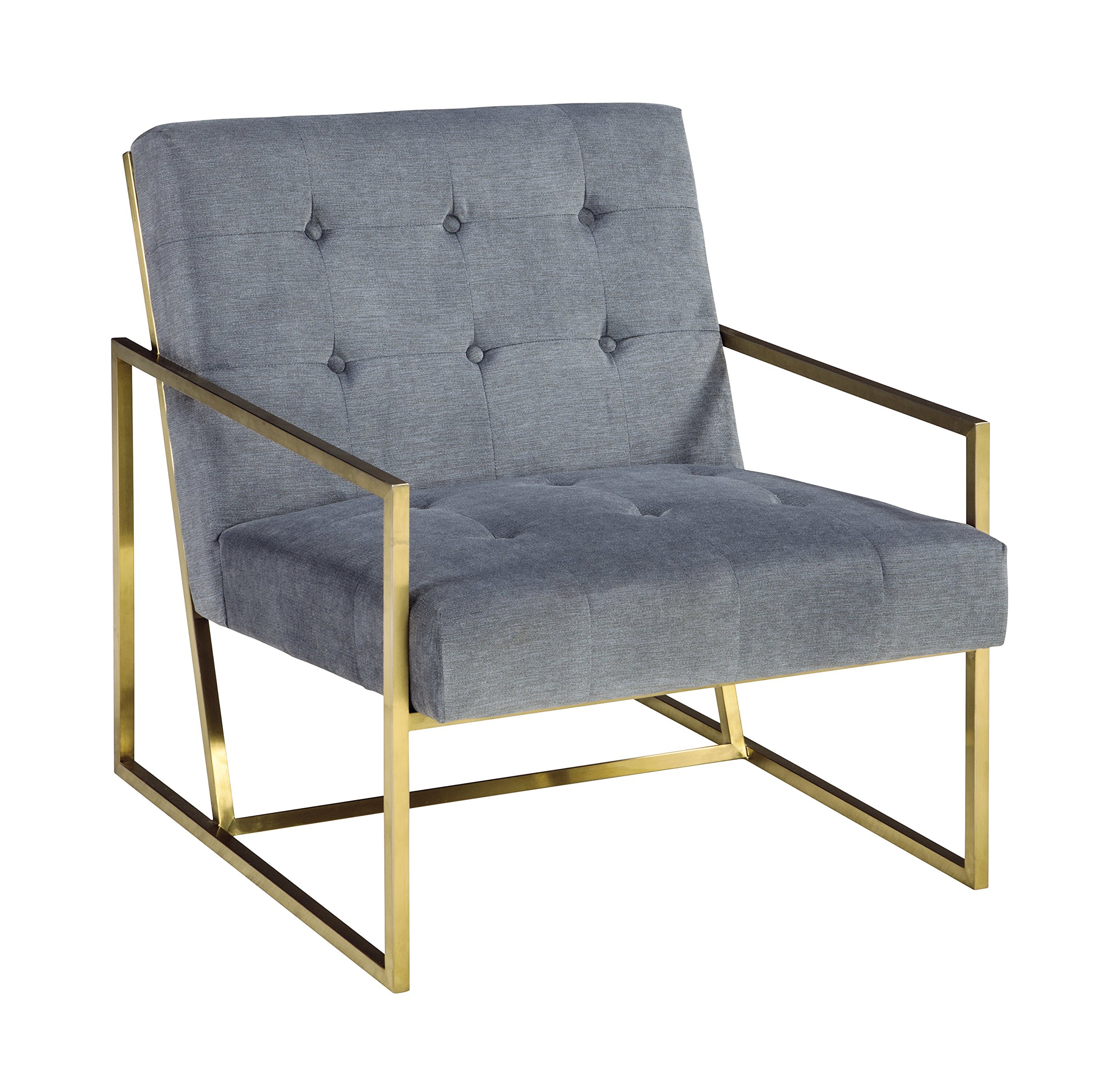 Ashley Furniture Signature Design - Seafront Accent Chair - Mid Century Modern - Cobalt - Bronze Legs - CHIC ACCENT CHAIR: Clean lines and tufted style-what's not to love? This chair is brimming with modern finesse with a touch of mid-century influence. Goldtone metallic is sure to amp up the drama HANDSOMELY CRAFTED: Sit back on high-resiliency foam cushions wrapped in polyester upholstery. Supported by an exposed metal frame in a goldtone metallic finish SOFT BLUE: Blue button-tufted box seats with velvet texturing are a special treat every time you sit down. Plus, the color combination pops thanks to the goldtone metal frame - living-room-furniture, living-room, accent-chairs - 91PqgbQMHjL -