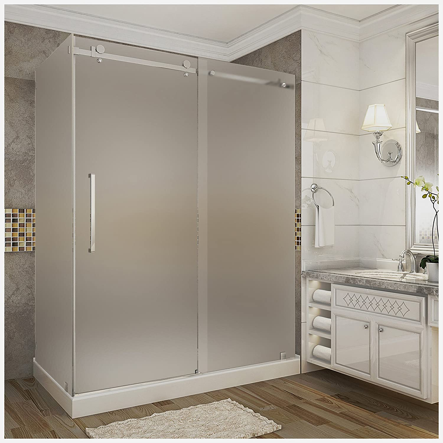 """chic Aston SEN976F-TR-CH-60-10-L Moselle Completely Frameless Frosted Glass Sliding Shower Door Enclosure in Chrome Finish with Base and Left Drain, 60"""" x 35"""" x 77.5"""""""