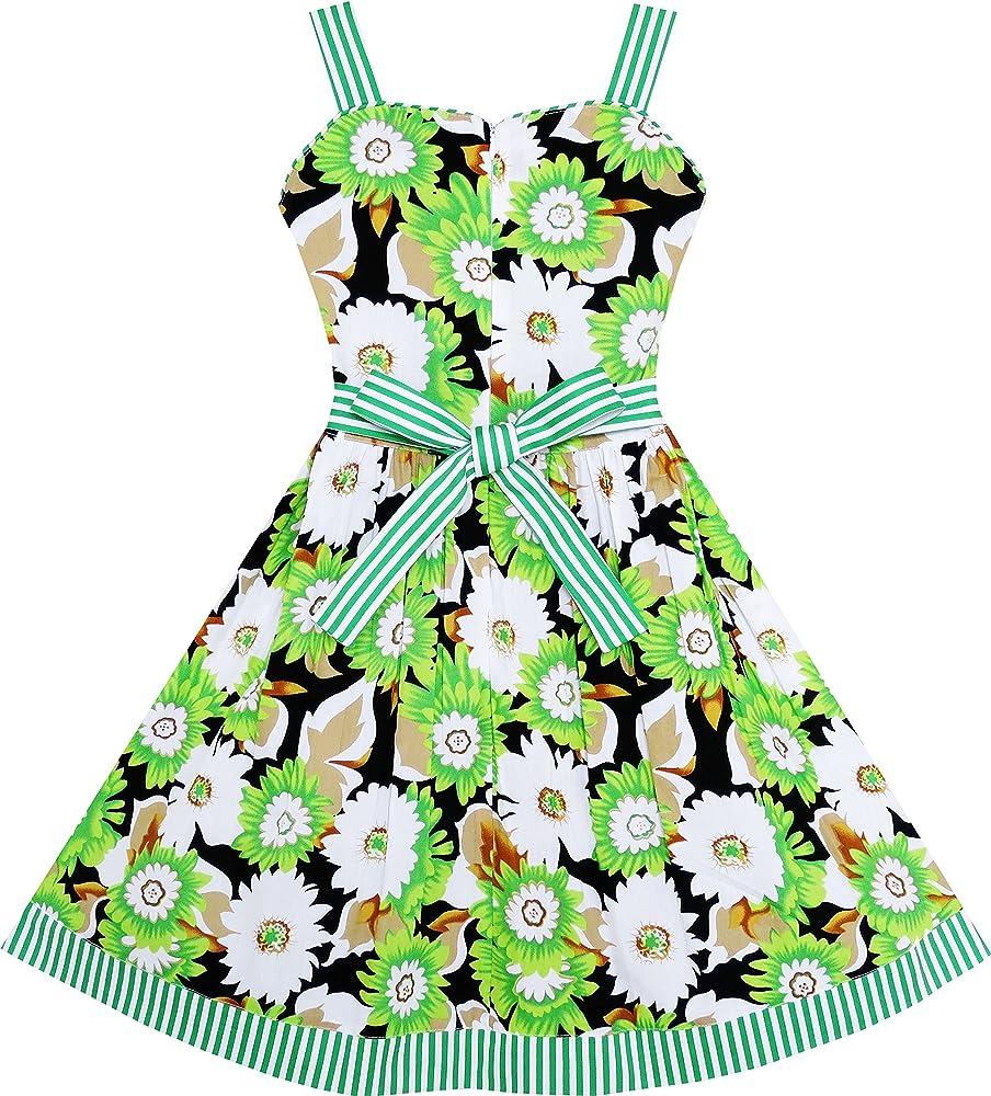 Vestido para niña Sin Mangas Flor Patrón Corbata de moño Rayado ...