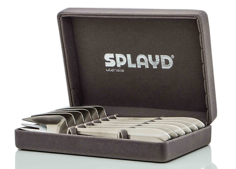 Splayd Mini Spork (Foon) Set of 6, Satin Finish, Gift Box Cambur
