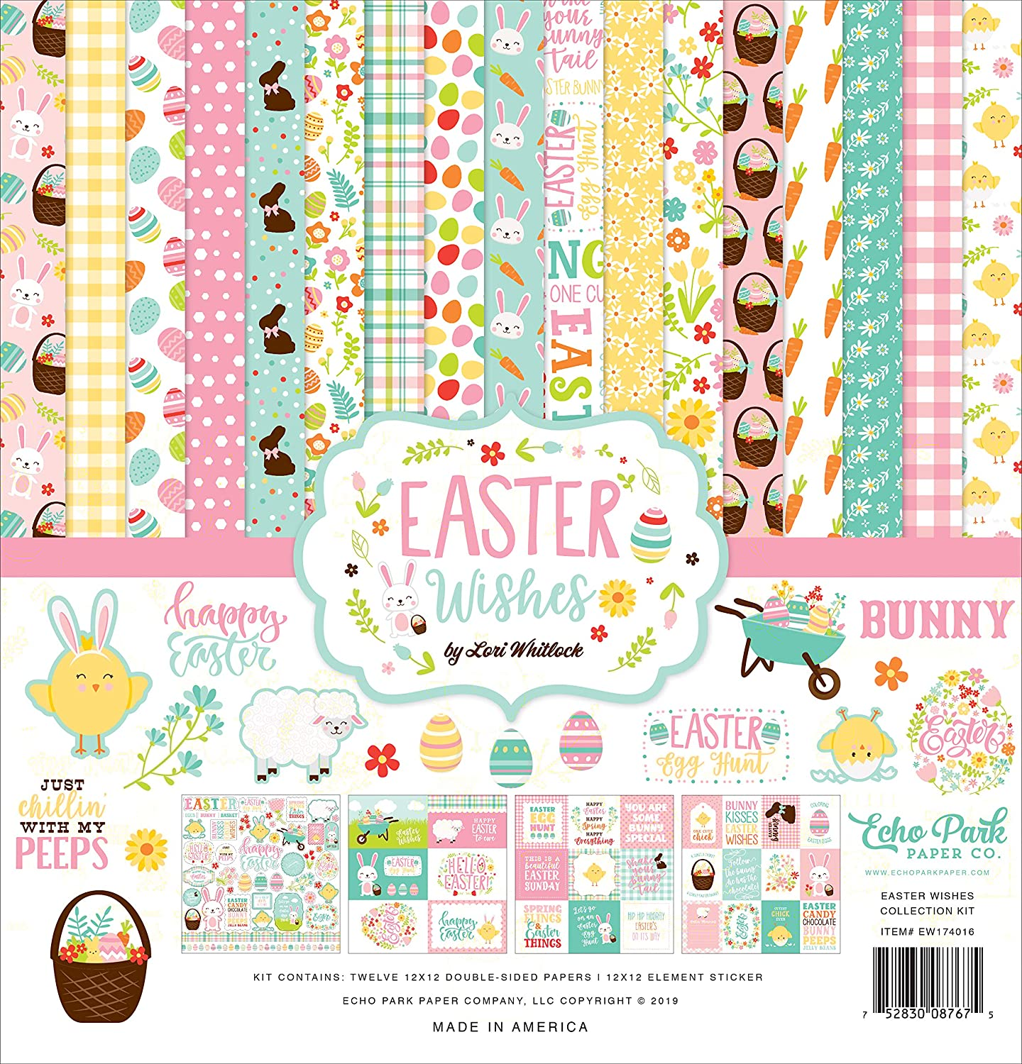 Echo Park Hello Easter Collection 12 x 12 Scrapbook Collection Kit