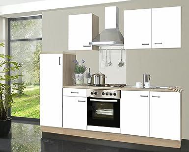 Küchenzeile Biggi 270 cm Komplett Küche weiß mit Kühlschrank Herd ...