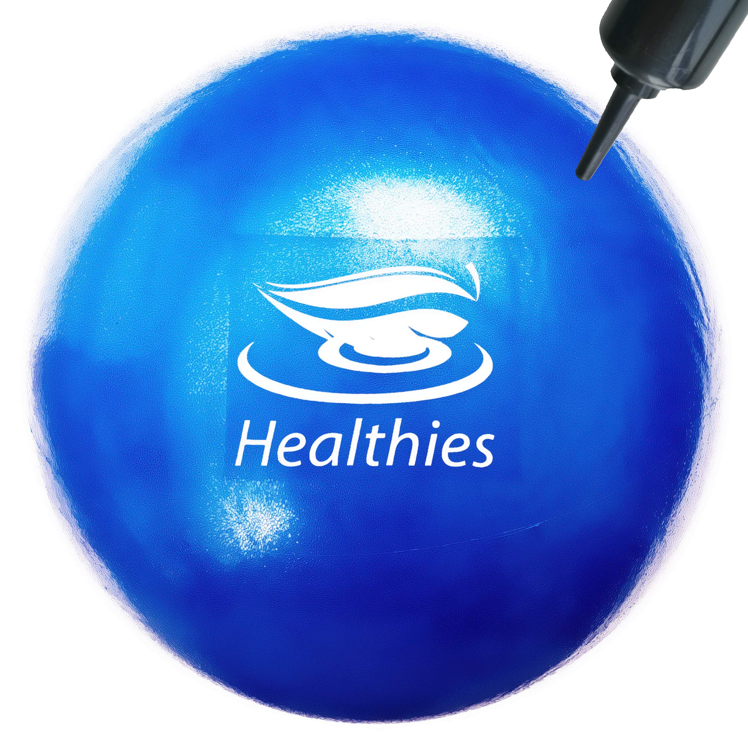 Healthies Small Exercise Ball - 9 Inch Fitness Ball for Physical Therapy, Pilates, Yoga, Barre, Stability Ball, Shoulder and Core Training (with Pump)