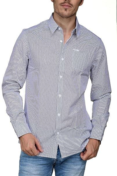 promo code 3f738 f93ea Guess Camicia Uomo MOD.M84H05 WAGA0 Bianco/Nero: Amazon.it ...