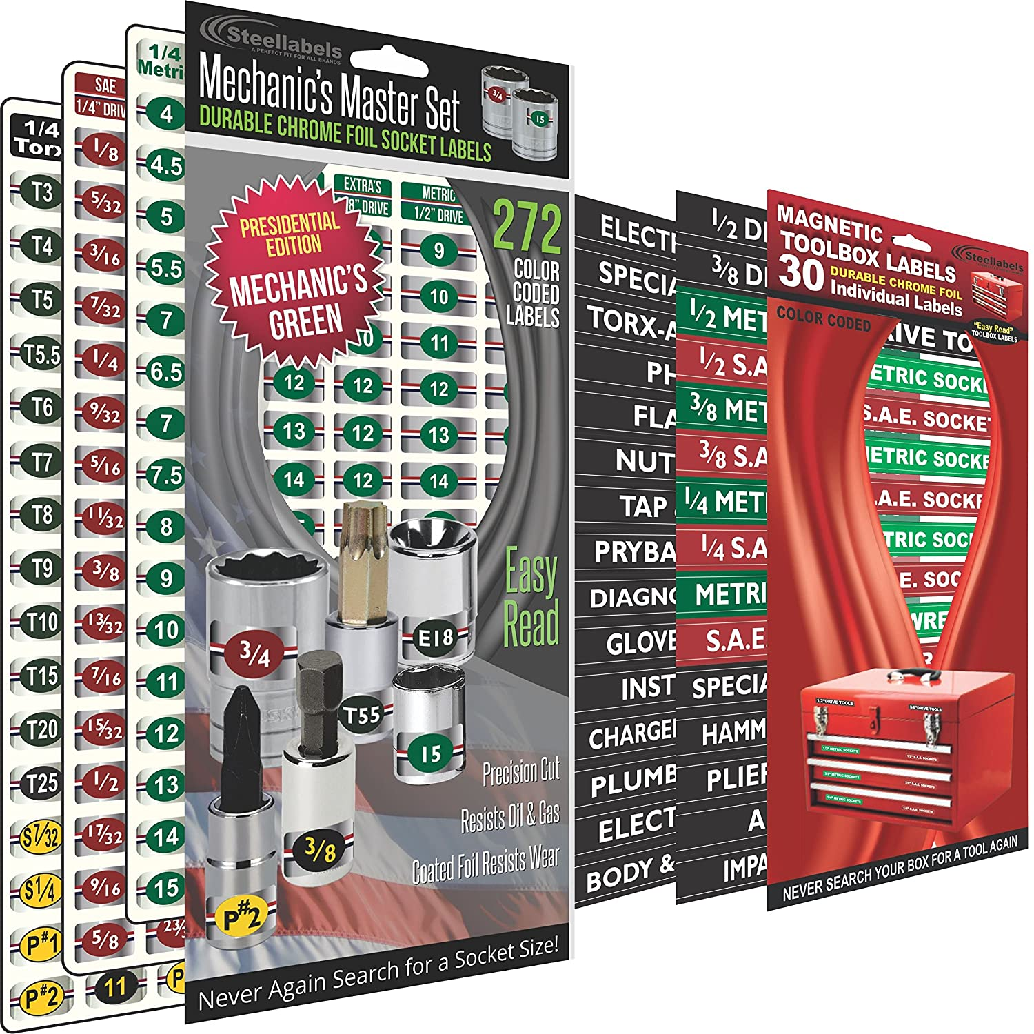 """Combo Deal - Magnetic Toolbox Labels plus our best""""Master"""" Set of Socket Labels (green series) for Metric, Torx & SAE tools, fits all Craftsman, Snap On, Mac Tools and Tool Chest"""
