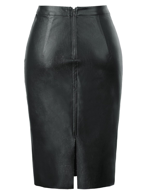 732f71f6b Kate Kasin Women's Faux Leather Pencil Skirt Hip Wrapped Back Split KK601  at Amazon Women's Clothing store: