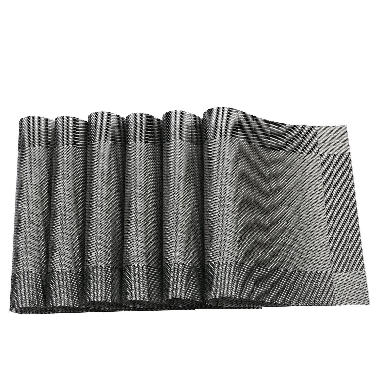 Placemat,U'Artlines Crossweave Woven Vinyl Non-slip Insulation Placemat Washable Table Mats Set of 6 (6pcs placemats, Grey) by U'Artlines (Image #5)