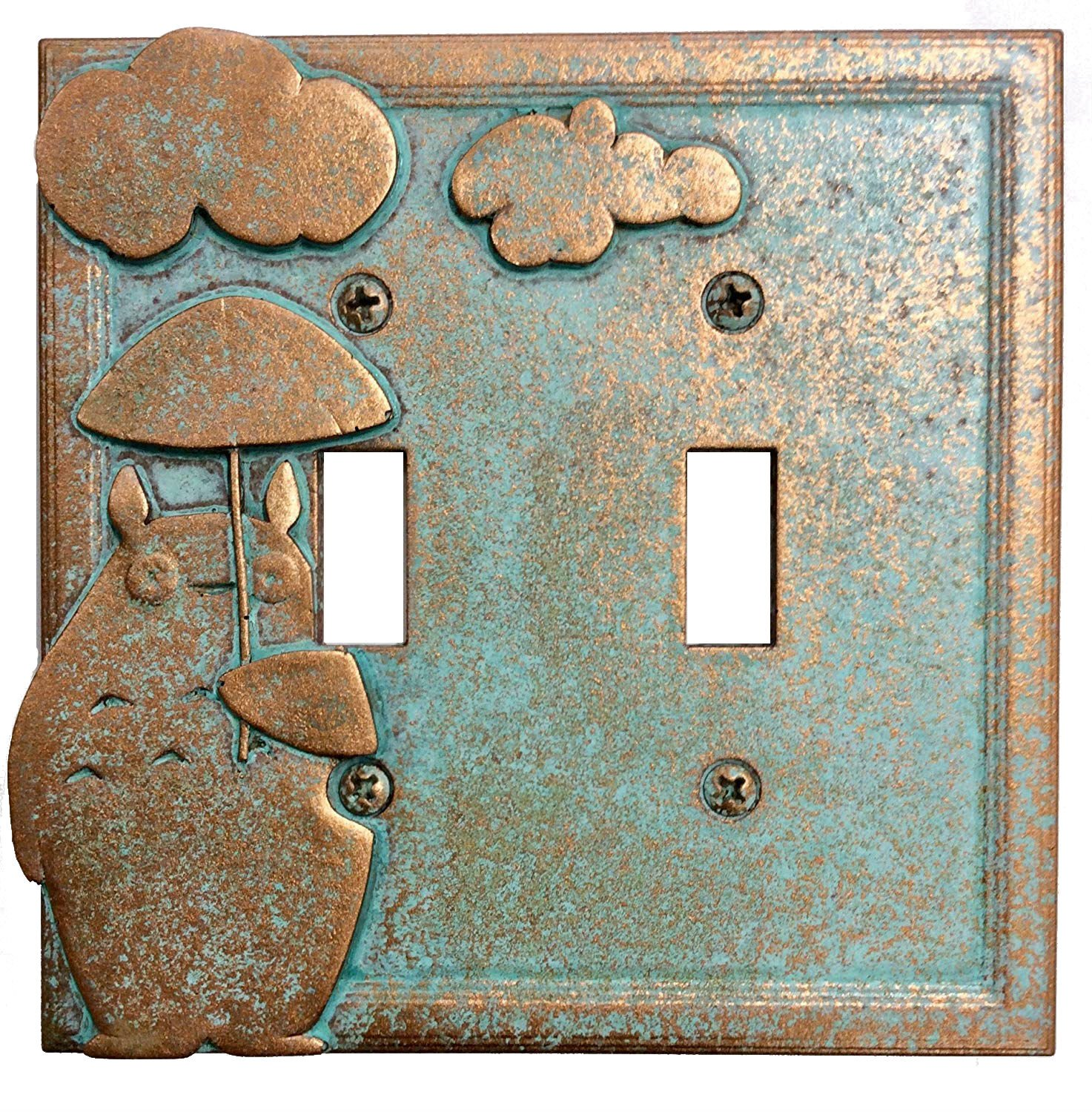 My Neighbor Totoro - Double Light Switch Cover (Aged Patina)