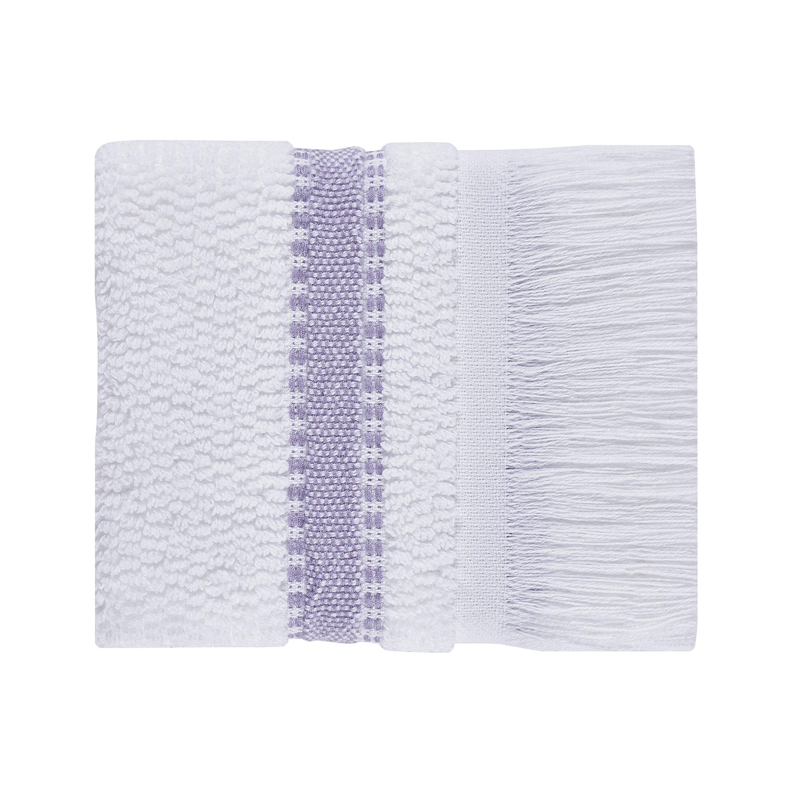 Five Queens Court Laney 100% Cotton Jacquard Ombre Stripe Wash Towel with Fringe, Fingertip, Purple