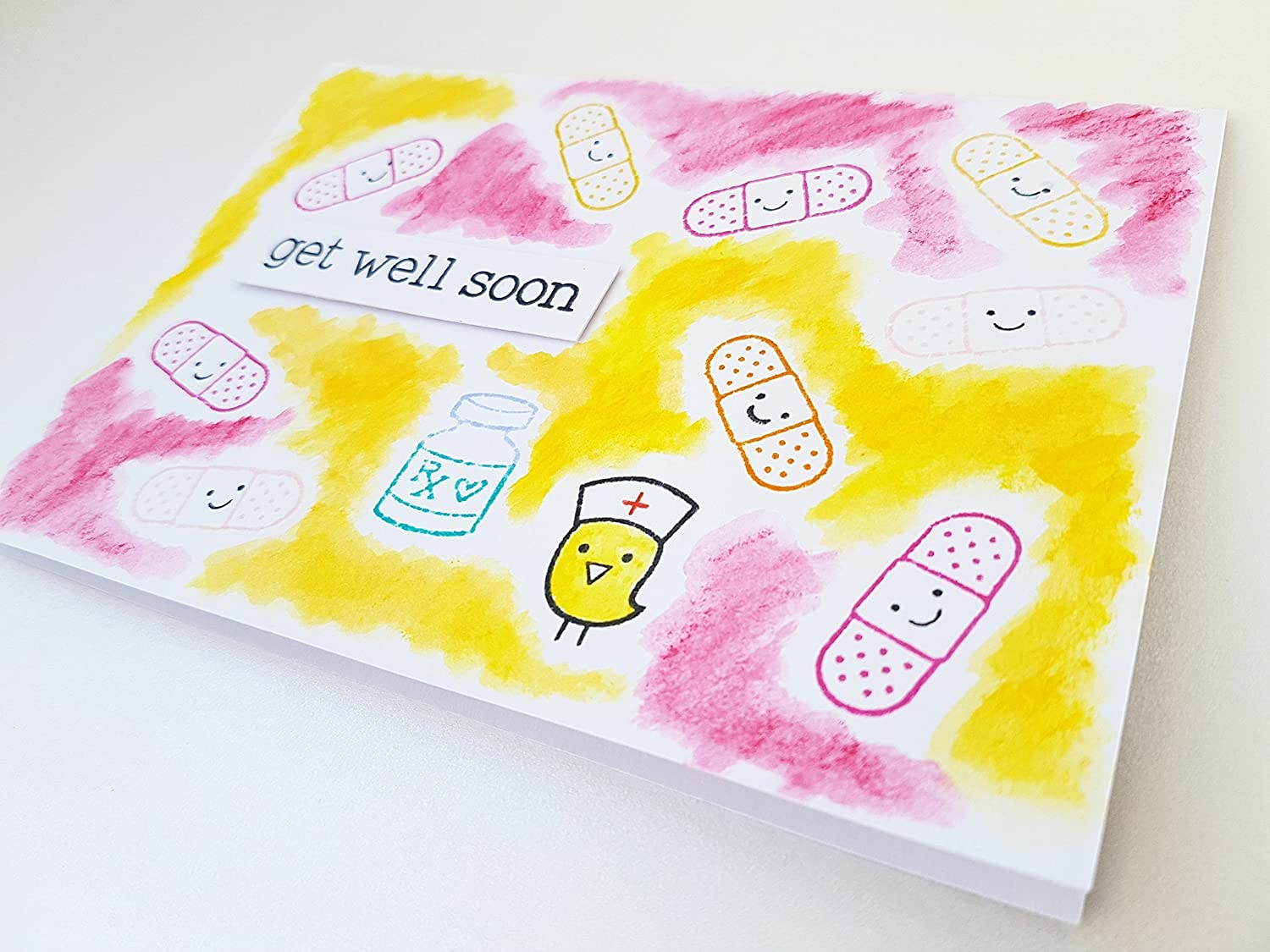 paper cards handmade gift scrap scrapbook cool girl boy friend pink orange yellow color colorful gifts for her, funny greeting card thinking of you get well soon card