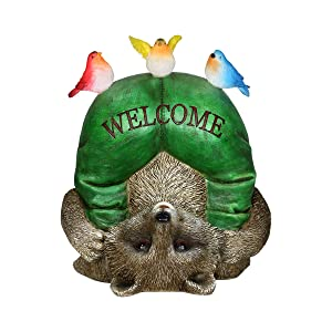 Exhart Solar Welcome Raccoon & Birds Garden Statue - Hand-Painted Statue of an Upside-Down Raccoon w/Welcome Sign & Birds on Top - Raccoon Decor w/Solar LED Accent Lights 8.66L x 6.69W x 10.24H