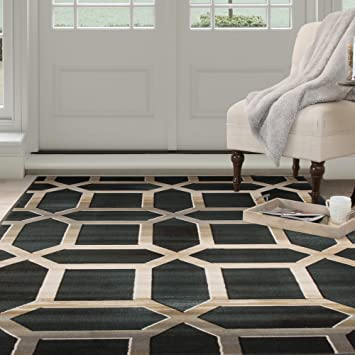 Amazon Com Lavish Home Opus Art Deco Area Rug 8 X 10 Dark Teal